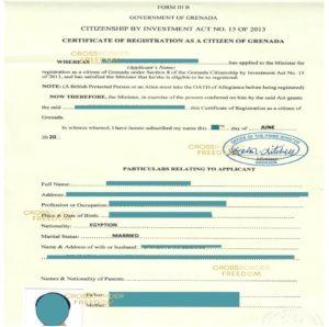 صدور گواهی شهروندی گرانادا